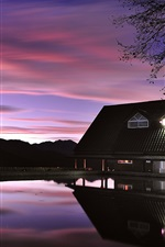 Preview iPhone wallpaper Evening dusk, house, lake, lights, reflection