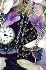 Preview iPhone wallpaper Flowers with a watch