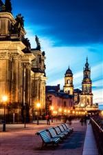 Preview iPhone wallpaper Germany, Altstadt, Dresden, city, street, benches, road, buildings, lights, evening