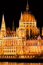 Preview iPhone wallpaper Hungary, Budapest, parliament, night, lights, water, Danube river