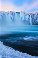 Preview iPhone wallpaper Iceland, Godafoss, beautiful waterfall, ice, snow, winter, blue