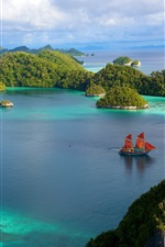 Preview iPhone wallpaper Indonesia beautiful islands scenery, water, ship, blue sky, clouds, sea