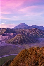 Preview iPhone wallpaper Indonesian landscape, Java Island, Volcano, Dusk