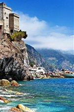 Preview iPhone wallpaper Italy, Monterosso al Mare, Cinque Terre, rocks, castle, boat, sea, beach