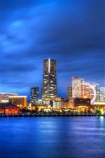 iPhone fondos de pantalla Japón, Yokohama, Prefectura de Kanagawa, ciudad en la noche, noria, rascacielos, luces