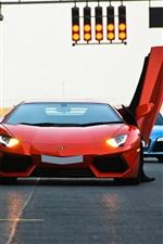 Lamborghini Aventador LP700-4, Mercedes-Benz SLS AMG, supercar, traffic lights