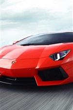 미리보기 iPhone 배경 화면 고속도로에서 람보르기니 Aventador 빨간색 초차