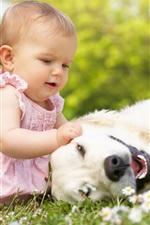미리보기 iPhone 배경 화면 강아지와 함께 아름 다운 소녀