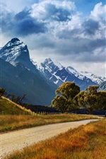 Preview iPhone wallpaper New Zealand nature landscape, mountains, road, trees, grass, clouds