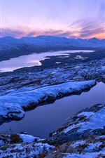 Preview iPhone wallpaper Norway winter scenery, mountains, sunset, snow