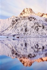 Preview iPhone wallpaper Norway, winter scenery, snow, mountains, sky, lake water, reflection