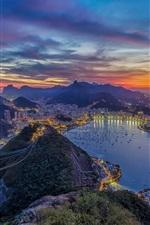 Preview iPhone wallpaper Rio de Janeiro, beautiful city night, lights, ocean, mountains