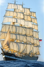 Preview iPhone wallpaper Sailing ship, sea, blue sky
