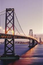 Preview iPhone wallpaper San Francisco beautiful scenery, dusk, bay bridge, lights, skyscrapers