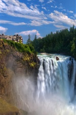 Preview iPhone wallpaper Snoqualmie Falls, waterfall, cliff, house