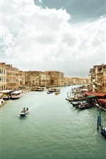 Preview iPhone wallpaper Venice, Italy, Canal Grande, water, boats, people, houses, cloudy sky