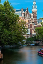 Preview iPhone wallpaper Amsterdam city, Nederland, river, buildings
