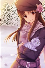 Preview iPhone wallpaper Anime girl in the snow winter
