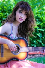 Preview iPhone wallpaper Asia music girl play guitar