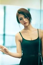 Preview iPhone wallpaper Asian girl, short hair, green skirt