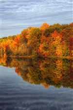 Preview iPhone wallpaper Autumn lake nature scenery, trees, sky, water reflection