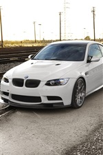 Preview iPhone wallpaper BMW M3 E92, sunset, railway