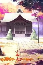 미리보기 iPhone 배경 화면 아름다운 애니메이션 풍경, 하우스, 가을