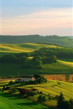 Preview iPhone wallpaper Beautiful home town, fields, hills, house, trees, green
