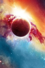 Preview iPhone wallpaper Beautiful space, planets and stars, red and blue