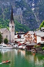 Preview iPhone wallpaper Beautiful town, Salzkammergut, Austria