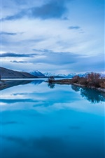 Preview iPhone wallpaper Blue nature landscape, mountains, lake reflection