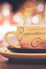 Preview iPhone wallpaper Cappuccino coffee, cup, saucer, plate, spoon