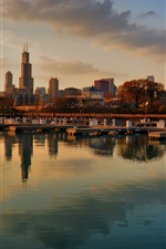 Chicago, USA city, evening skyscrapers, bay, dock