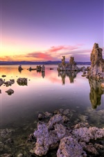 Preview iPhone wallpaper Coast sunset landscape, Dead Sea, rocks