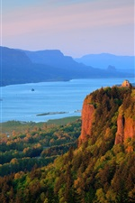 Preview iPhone wallpaper Columbia River, forest, mountains, nature scenery