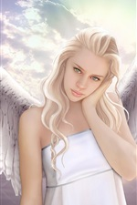 Preview iPhone wallpaper Fantasy angel girl, wings, sky, white