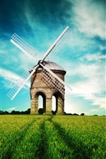 Preview iPhone wallpaper Fantasy landscape, windmill, fields, blue sky
