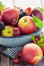 Preview iPhone wallpaper Fruit close-up, peaches, nectarines, cherries, blueberries