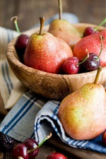 Preview iPhone wallpaper Fruit photography, pears, cherries, blackberries, wooden table