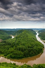 Preview iPhone wallpaper Germany, Saarland, river bend, water after rain, trees, hills