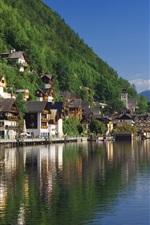 Preview iPhone wallpaper Hallstatt, Salzkammergut, Austria scenery, river, houses, mountains