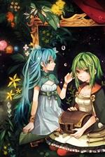 Hatsune Miku, three anime girls