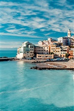 Preview iPhone wallpaper Italy, Cinque Terre, beautiful sea coast landscape, houses, sky, clouds