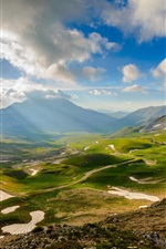 Itália cenário, vale, montanhas, céu, nuvens