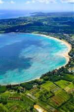 Preview iPhone wallpaper Kauai Island, Hawaii, Hanalei Bay, beach, sea coast