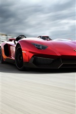 Lamborghini Aventador red supercar running speed