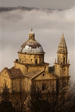 Preview iPhone wallpaper Montepulciano, Toscana, Italy, church, fog, trees
