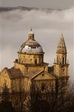 iPhone壁紙のプレビュー モンテプルチャーノ、トスカーナ、イタリア、教会、霧、木