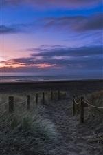 Preview iPhone wallpaper New Zealand, beach, grass, sunset