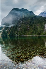 Preview iPhone wallpaper New Zealand, lake, mountains, mist, falls
